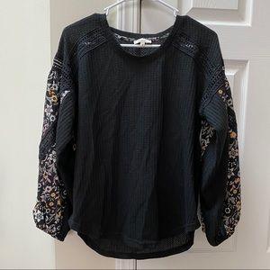 La Miel | Black Boho Floral Sleeve Thermal Blouse